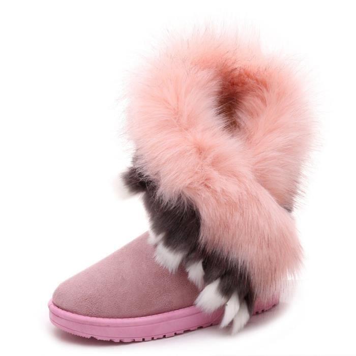 mode renard naturel vache fourrure cuir fendu dame bottes haute neige pour les femmes bottes d'hiver flats chaussures lapin pompons