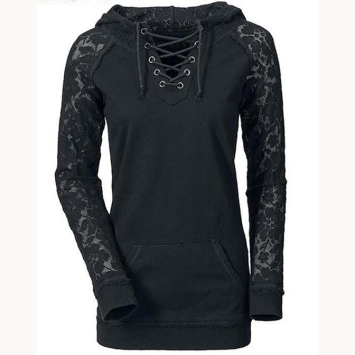 Jumper Femmes Lacent Capuche Noir Manches Tie À Pull Manteau Sweat Sexy Tops Longues OPdT8qO