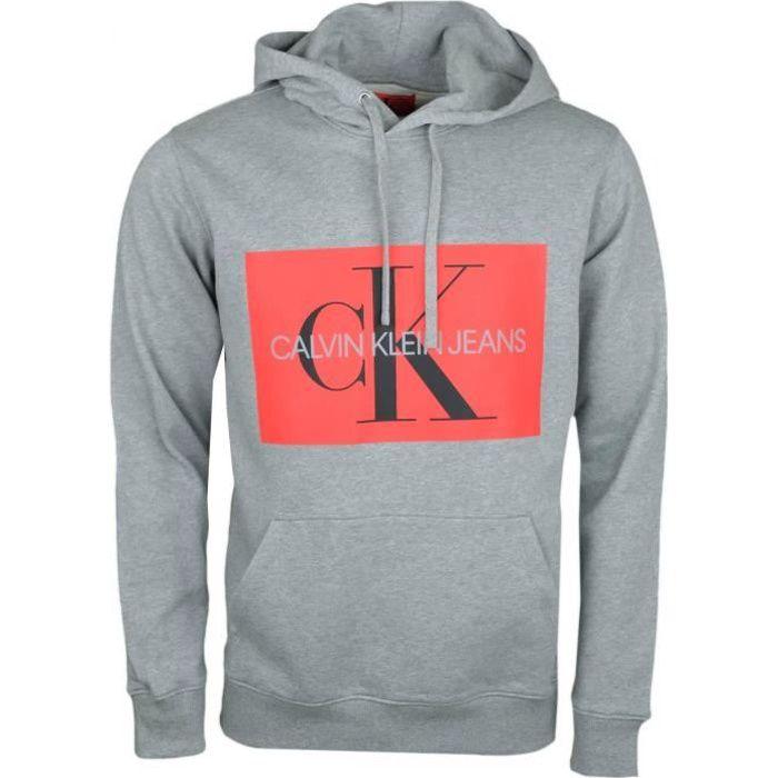 a3306b7e6cf Sweat à capuche Calvin Klein gris flocage carré rouge pour homme - Couleur   Gris - Taille  S