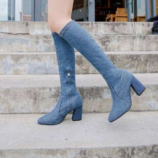 Sur Chaussures Hiver Bottes Talons Les Denim De Hoof Genou Femmes Chaud Zipper Sexy Zareste®femmes bleu 9HI2WEDY
