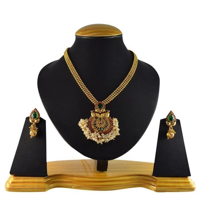 Mode traditionnel Rani Femmes en alliage de cuivre vert avec collier Ensemble de bijoux et boucles doreilles pourWMA76