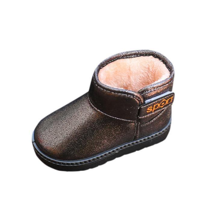 Enfants automne hiver chaud Mode enfants Martin filles occasionnels bottes de neige café