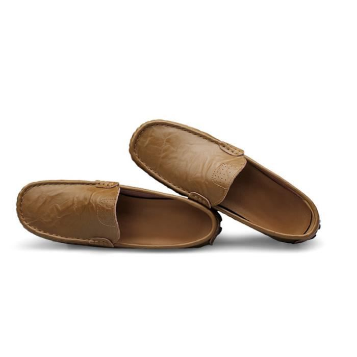 Mocassin Hommes Mode Chaussures Grande Taille Chaussures MMJ-XZ73Marron49