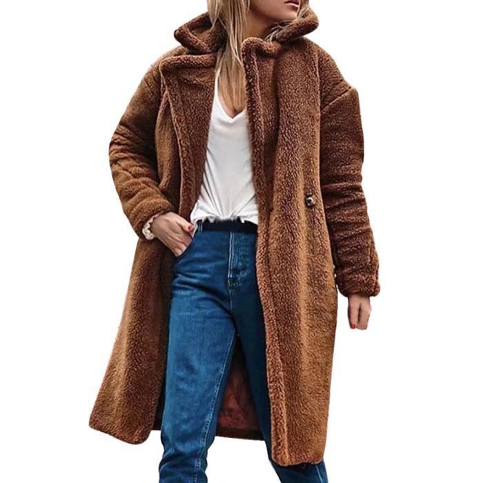 De D'hiver Pardessus Outwear Parka Solide Casual Femmes Manteau Couverture Kaki Poil Chaud cBTzaqWwC