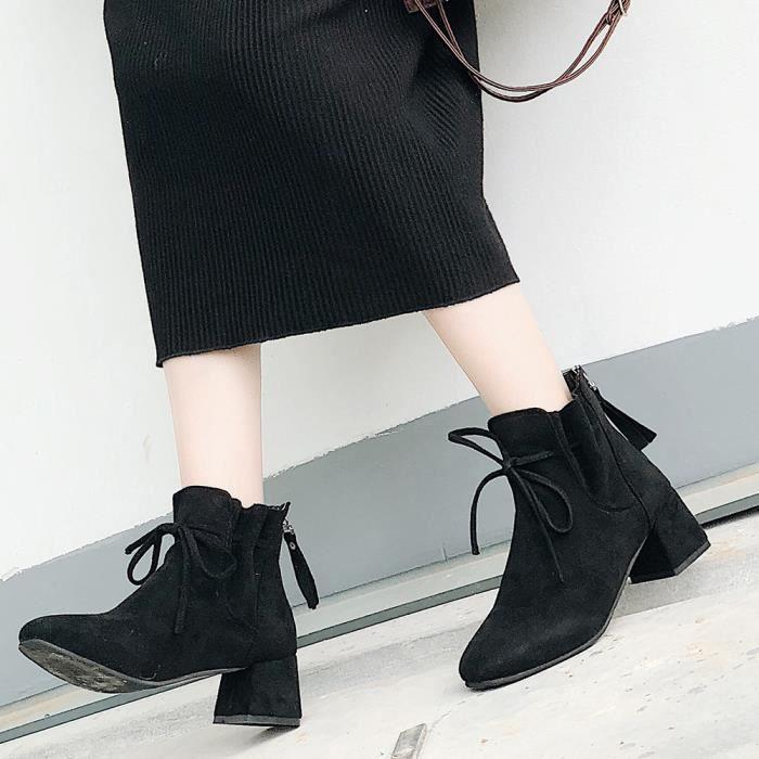 De Femmes Zipper Haut Veberge Mode Bottines Suede Retour Talon 11150 Lady Bottes Shoes Bow qg8Zq