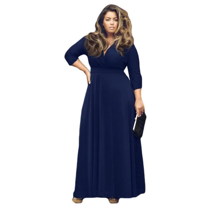 Robe G1381 Bleu foncé Taille XL Nouveau Mode étirable V Neck trimestre trois manches Maxi Plus Casual une pièce