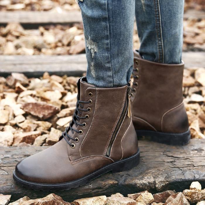 Chaussures Mode Hiver Hommes, lacées en cuir de vache super chaude Bottes Hommes, Bottes Hommes Casual cheville,marron,40