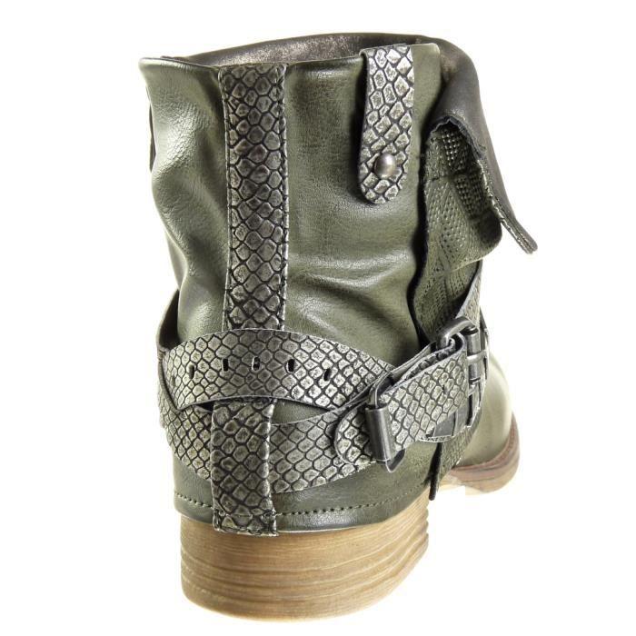 Angkorly - Chaussure Mode Bottine motard cavalier effet vieilli femme peau de serpent lanière clouté Talon bloc 3 CM - Vert - F2752