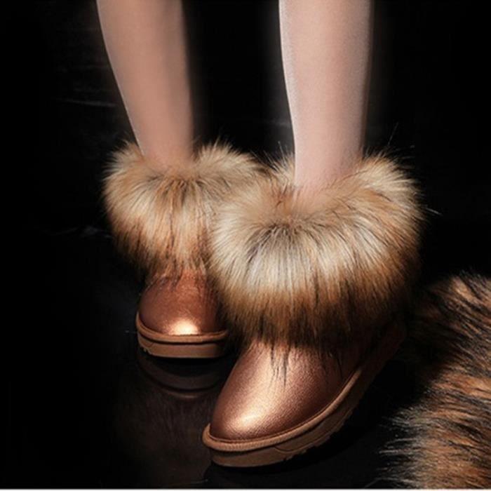 neige cuir vache renard les flats filles gros de bottes fourrure femmes courte de pour mode fendu d'hiver hiver de cheville YgY1wr5q