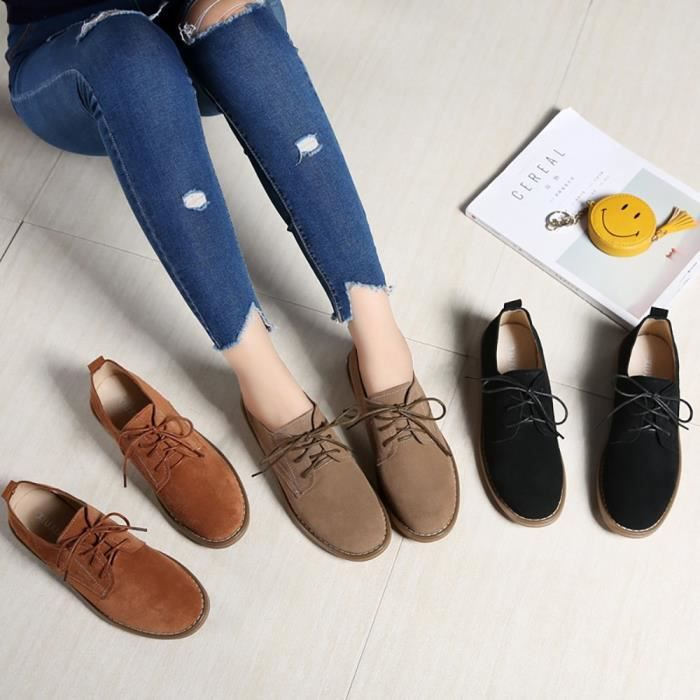 Autumn Shoes Casual Fashion Cattle Suede Breathable Round Toe Boots U5G0D Taille-36 1-2