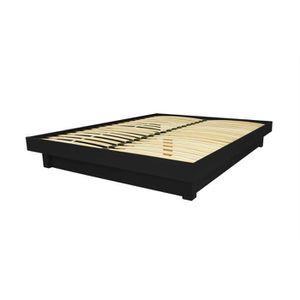 STRUCTURE DE LIT Lit plateforme bois massif pas cher (Noir - 140x20