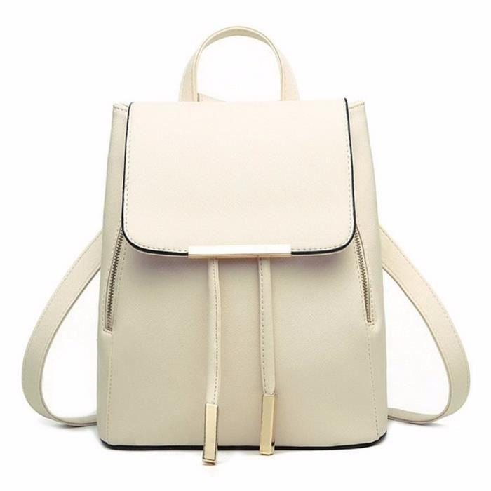 en soldes 0b84b c9bee Sac à dos Femme en cuir sac à bandoulière casual sac à dos étudiant blanc
