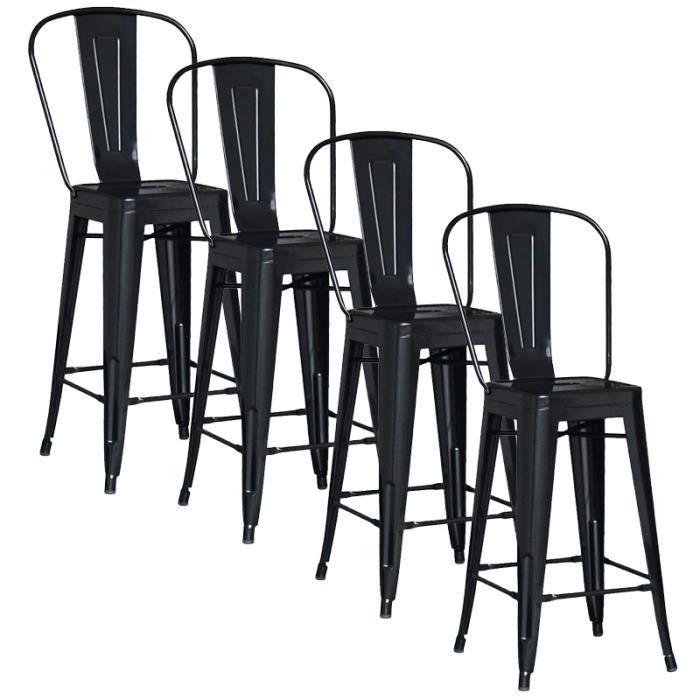 lot de 4 chaises de bar m tal loft laqu noir achat. Black Bedroom Furniture Sets. Home Design Ideas