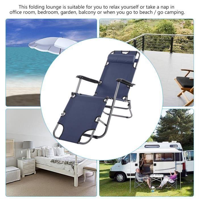Fauteuil inclinable extérieur de terrasse de patio pour salon de camping au  camping (bleu foncé)