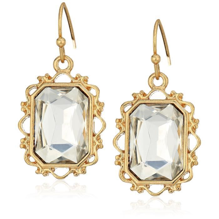 1928 Jewelry Womens Gold-tone Crystal Rectangle Faceted Drop Earrings GUM30