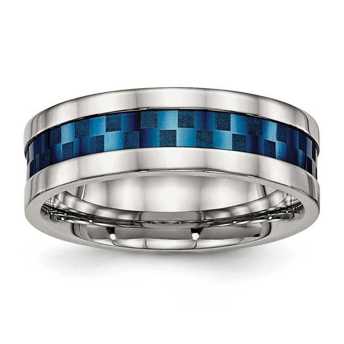 En acier inoxydable poli plaqué Ip Bleu 8 mm élastique-Taille 1/2 N