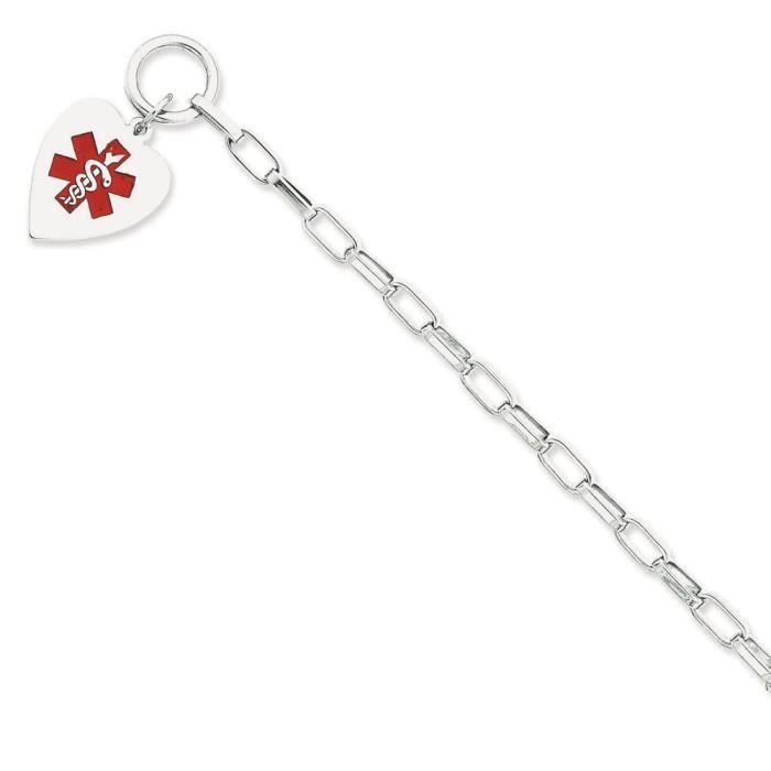 Argent 925/1000 coeur Bracelet didentité vernie Housewares - 19 cm-Bascule