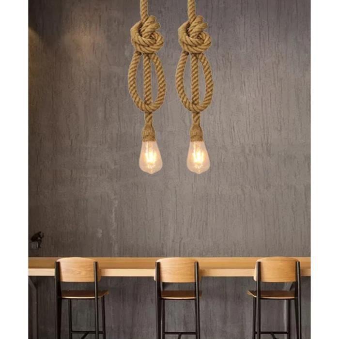 d/écor rustique corde de chanvre sans ampoule 1m Vintage corde de chanvre Lampe suspendue en chanvre de style r/étro AC 220V E27 pour salon bar et salle de bain