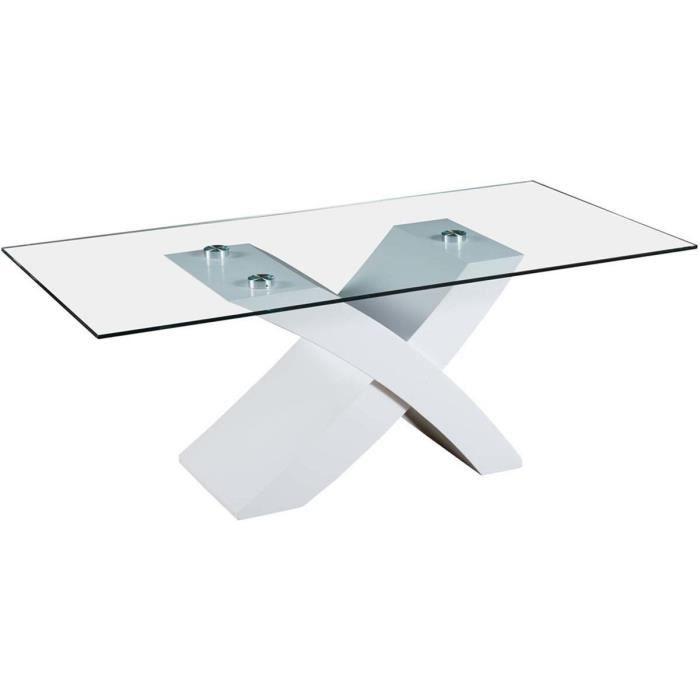 adfe046bcd191 Table basse verre trempe blanc - Achat   Vente pas cher
