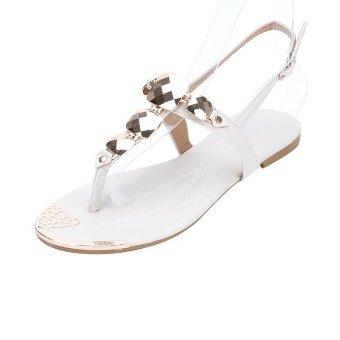 Sandales Femmes Bohémienne été Chaussure Sandale Fille KIANII® Apricot Oyeq1n
