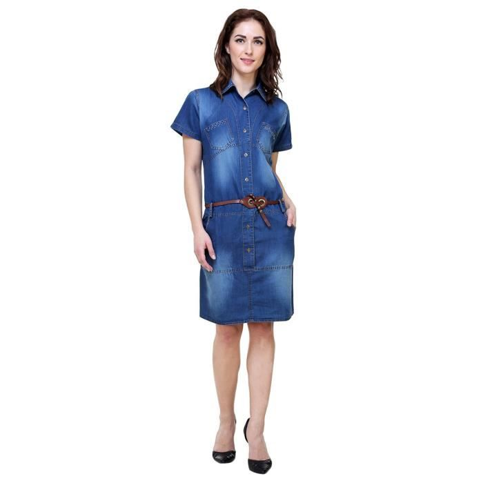 Womens Denim Solid Midi Dress ForG9BEE Taille-34