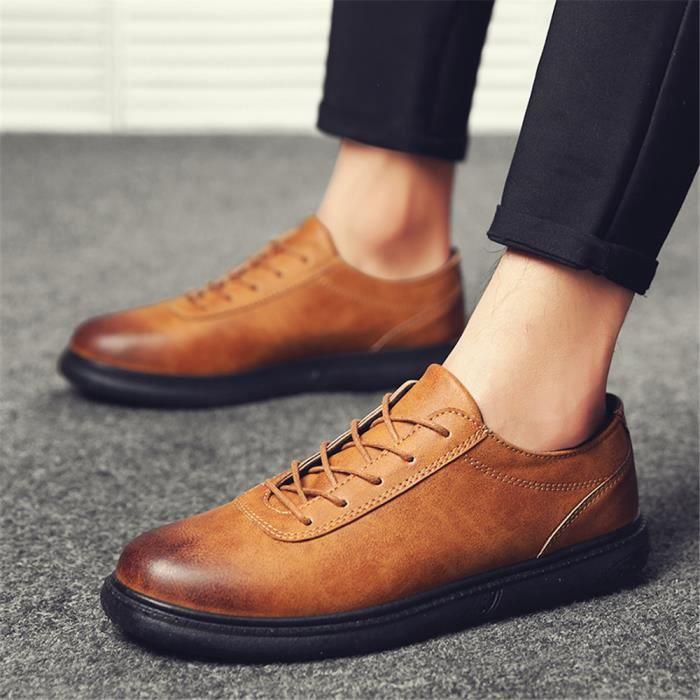 71d7239d2a8b Derbies Homme En Cuir Nouvelle Mode Qualité SupéRieure Chaussures  Confortable Chaussures Rétro 40-44