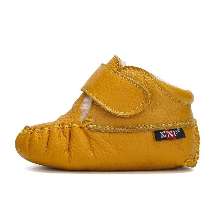Bottes bébé PU Cuir De Neige Hiver Garçons Filles Casual Mode Enfants Chaussures BLLT-XZ157Jaune16 mw2c3u