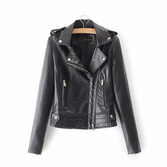 4c8e01f44c Boutique Hugo--Courte Mode Veste Simili Cuir Femme Moto Style Blouson Femme  Manches Longue --Noir-Rose-Rouge