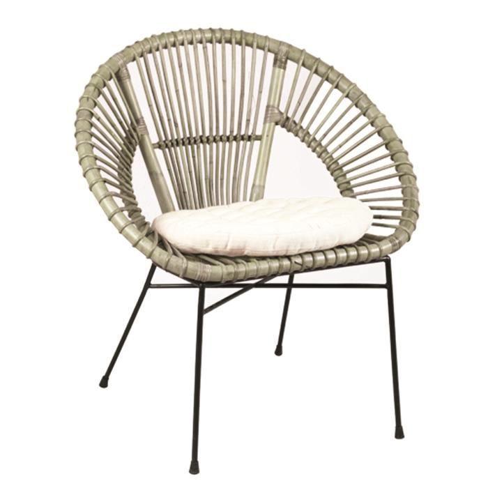 fauteuil en rotin et fer coloris noir dim l 74 x p 54 x ht 79 x ht ass 47 cm achat vente. Black Bedroom Furniture Sets. Home Design Ideas