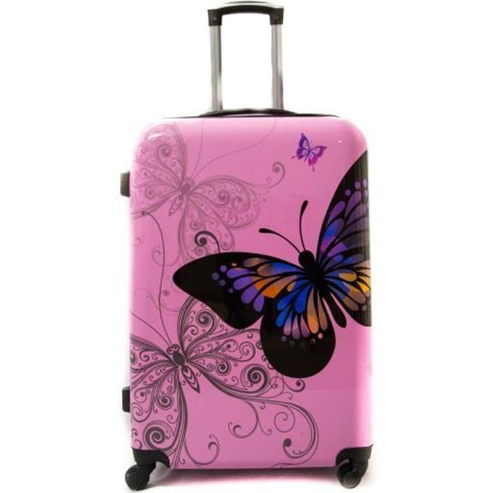 """VALISE - BAGAGE Valise Grande Taille 75cm 4 roues - """"Butterfly"""" Tr"""