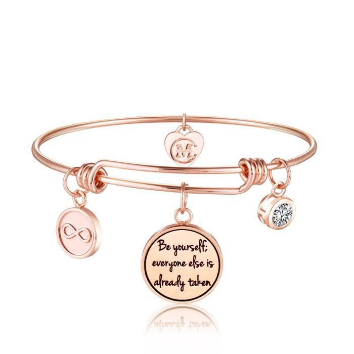 Womens Inspirational Charm Bangle Bracelet Engraved be Yourself, Everyone Else Is Already TakenP1LON