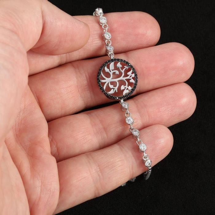 Femmes 925 Bracelet en argent massif avec un arbre Pierre Onyx Noir de Life Concept JUWM9