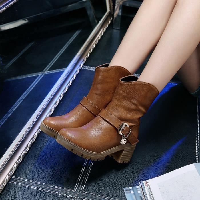martin boots-Pur CarrCouleur des femmes talon...