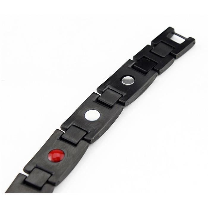 Bracelet magnétique avec aimants black carbone 18 cm
