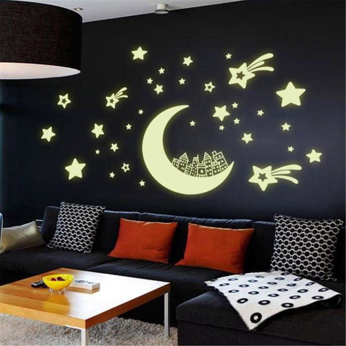 Autocollant mural phosphorescent etoile lune maison pour for Auto collant mural