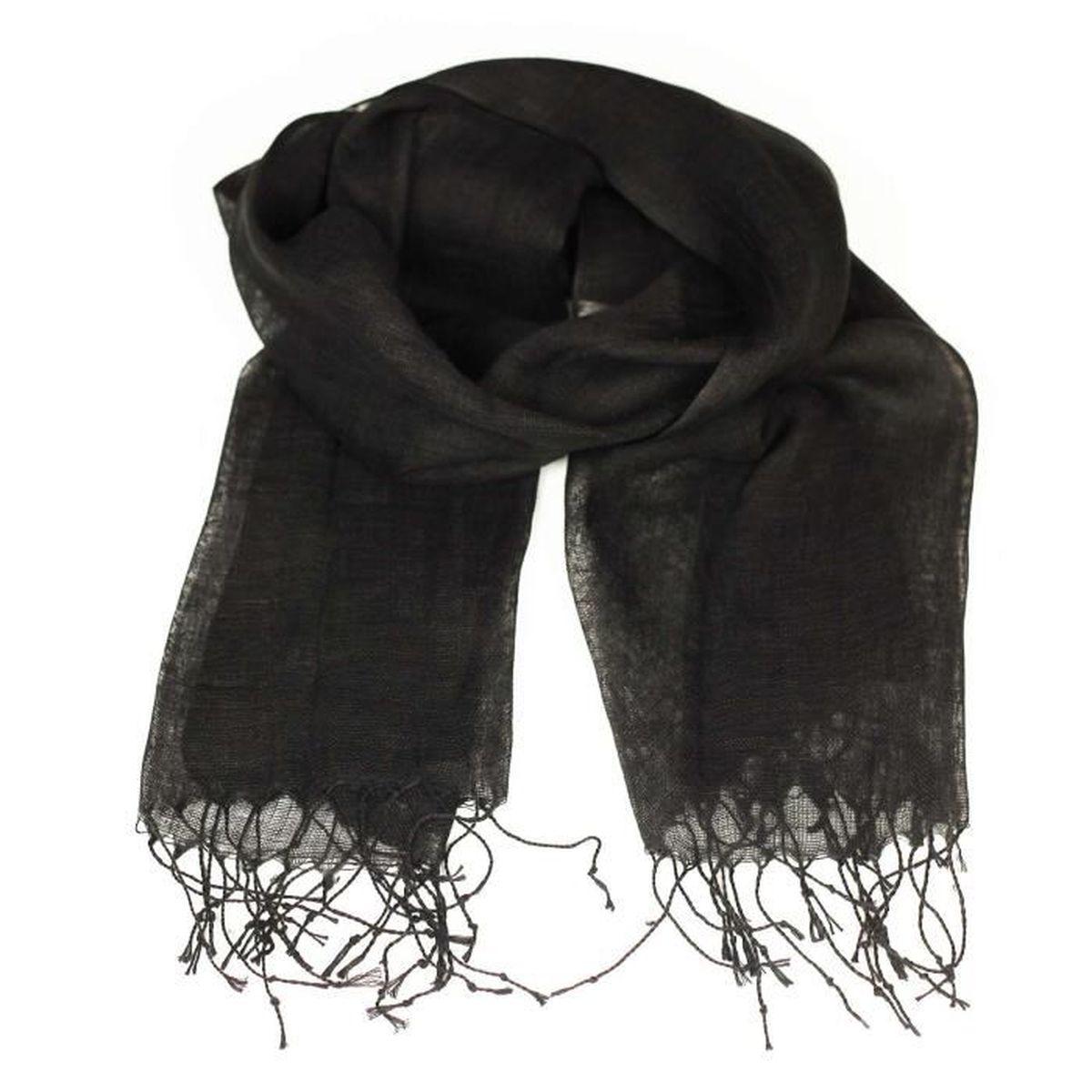 Etole en lin - en lin noir Noir - Achat   Vente echarpe - foulard ... 9a681314b42