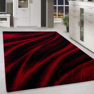 Tapis salon rouge et noir 120x170 - Achat / Vente pas cher