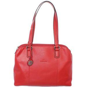 Hexagona Sac porté épaule hauteur Diversité nylon léger garni cuir (Rouge) 2vxTi