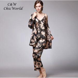 4aa66ceb81fa2 PYJAMA Femme Confortable Imitation Soie Pyjamas Imprimé S