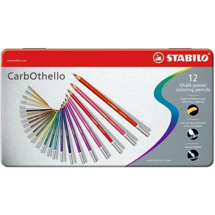 STABILO CarbOthello - Boîte métal - lot de 12 crayons de couleur fusain pastel