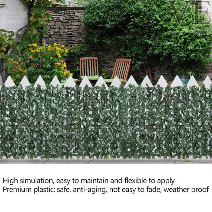 Feuilles de haie artificielle en plastique décor de clôture pour jardin *  3m vert -MLP
