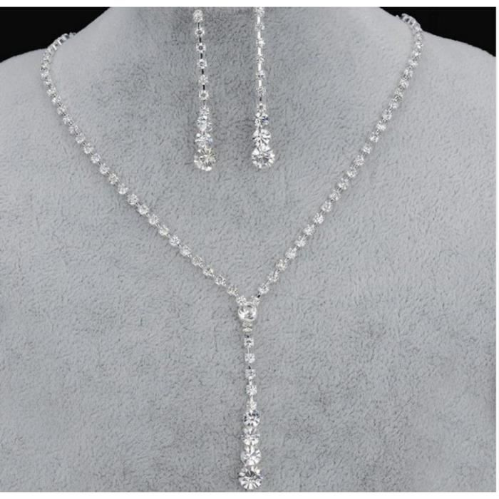 Parure Bijoux Mariage Cristal AFRICAIN ARGENT 925°