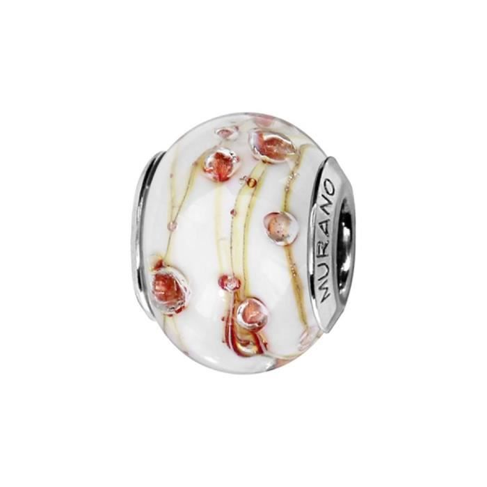Charms Argent 925 Perle Murano Blanc et Fil