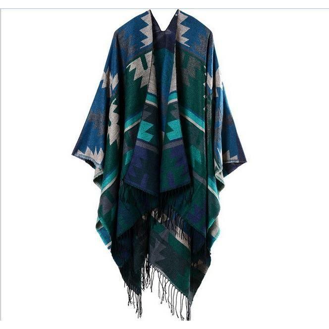 Automne Hiver Pour Femme Foulard Cape Poncho Vert Chaud 1pcs Couverture Chale vgwzUW8dq