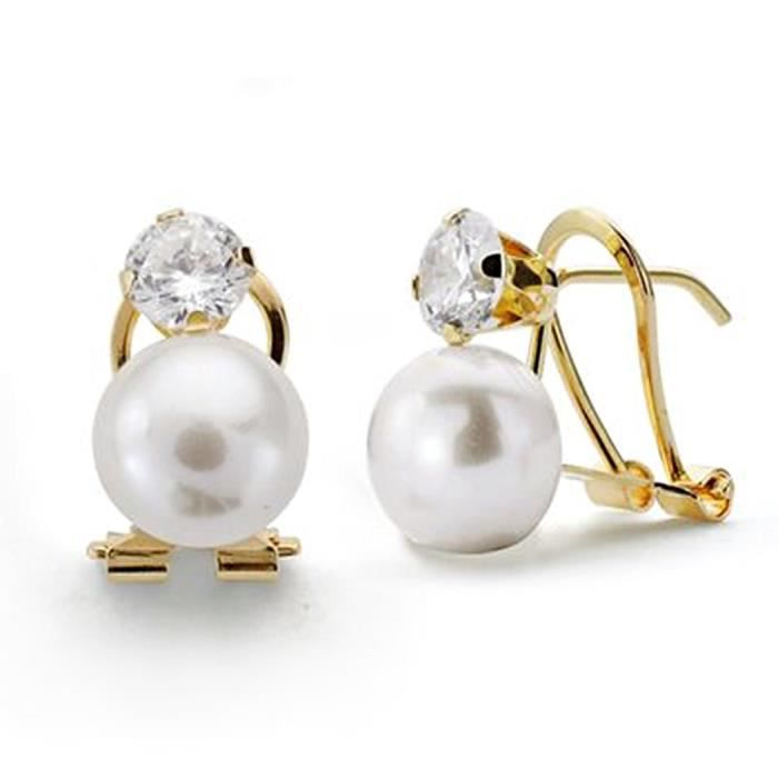 Boucled'oreille 8mm or perle 18k. zircone griffe [AA0300]