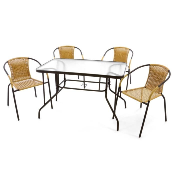 Bistrot 4 Chaises En Verre EmpilableTable Rectangle gYybf76