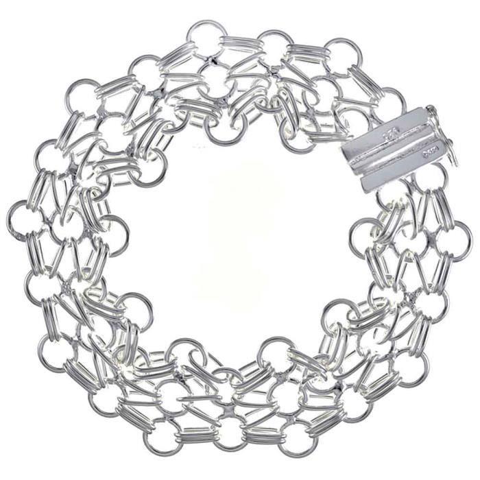 Bracelet charms et perle Argenté argent sterling 925/00 Bijou fantaisie haut de gamme Femme Blanc Entrelacé Odessa