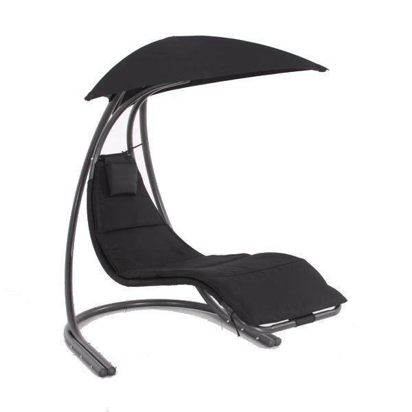 lit balancelle acier textilene noir achat vente. Black Bedroom Furniture Sets. Home Design Ideas