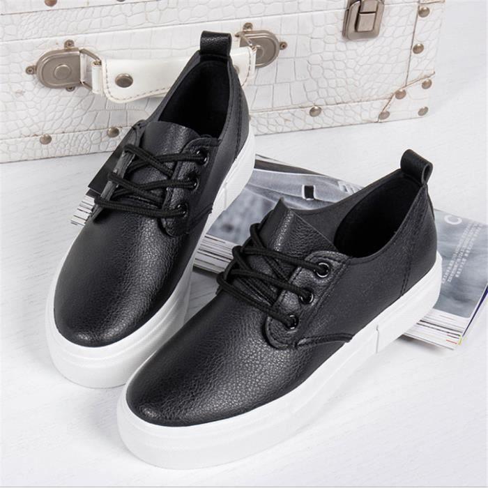 De Cuir Taille Nouvelle Arrivee noir Confortable 2017 Chaussure Chaussures Plus 40 35 Blanc Classique Femme Marque Luxe Sneaker Respirant 07wAw6
