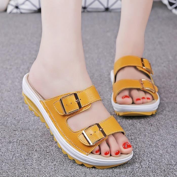XZ776C5XZ776C5Femmes boucle sangles à enfiler des sandales Toe Slides Chaussons Chaussures d'été